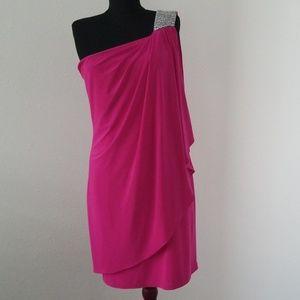 CACHE Magenta One Shoulder Cocktail Dress Size 8